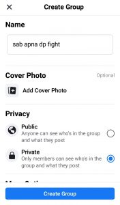 How create facebook dp fight group